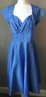 Womens Dress Belle Poque 50s sweetheart neck Blue White Polka Dot Rockabilly XL