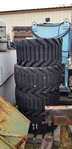 4x OTR Outrigger Telehandler Tires on 9 Bolt Rims 33 x 15.50-16.5 NHS