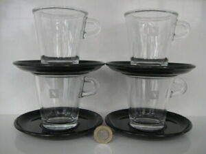 4 X COFFEE CUP SAUCER NESPRESSO VIEW CLEAR GLASS BLACK SWIZZ MADE CAHEN DESIGNED