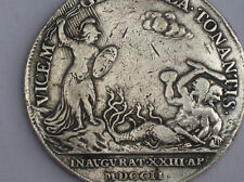 Magnificent Solid Silver Queen Anne 1702 Official Coronation Medal.John Croker