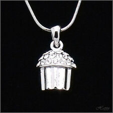 Mini Cakecup Baker Charm Cake Pendant Necklace Crystal Clear 3D Jewelry Silver T