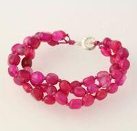 "New Chunky Beaded Bracelet - Sterling Silver Dyed Pink Jasper 3-Strand 7.25"""