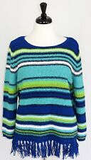 Ruby Rd XL Top Knit Sweater Stripe Fringe Long Sleeve Blue Green Yellow White