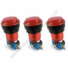 3 x 28mm Round 12v LED T10 Bulb Arcade Buttons & Microswitches (Red) - MAME