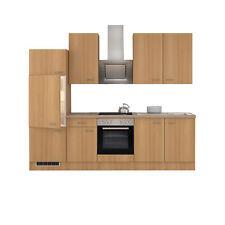 Einbauküche mit Elektrogeräten Küchenzeile Küchenblock E-Geräte 270 cm buche