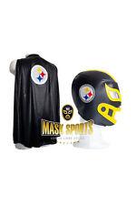 COMBO NFL WRESTLING ADULT MASK & CAPE PITTSBURGH STEELERS