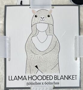 "Cute Lama Hooded Blanket Plus Ears White 50""x 60"" New"