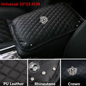 PU Leather Car Center Console Armrests Box Mat Pad Crown Crystal Cushion Cover