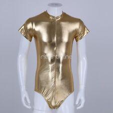 Mens Wetlook One-Piece Bodysuit Clubwear Halloween Costume Leotard Jumpsuit Gold