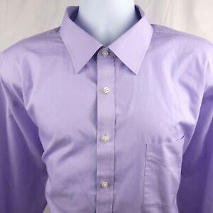 Stafford Mens Travel Easy Care Broadcloth Big 19/34-35 Purple Button Dress Shirt