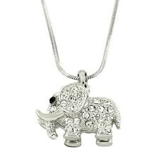 "Elephant Charm Pendant Fashionable Necklace - Sparkling Crystal - 17"" Chain"
