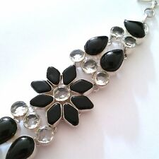 GORGEOUS 925 SILVER HANDCRAFTED NATURAL BLACK ONYX/WHITE TOPAZ GEMST. BRACELET.