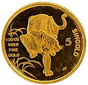 1986-SM Singapore 1/20oz Gold 5 Singold Lunar Series-Tiger.