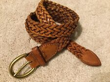 New listing Brighton Brown Vintage Braided Woven Leather Belt Size 30 Made in Usa