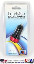 Black/Red USB Car Charger Dual 2 Port for iPhone Samsung HTC 3.1a 2.1a travel