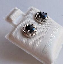 SAPPHIRE Genuine Gemstone 925 STERLING SILVER Round Stud EARRINGS >Special Sale<