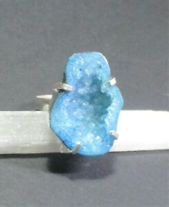 Natural, Druzy Agate in Blue Gemstone Ring, Size P, -  925 Silver Plated