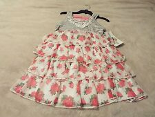 Counting Daisies By Rare Editions Girls 8 Dress Pink Floral Striped Lace Tier