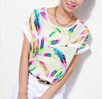 Fashion Women's Feathers Chiffon Blouse Top Casual Short Sleeve Loose T-Shirt