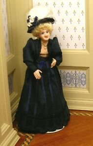 Debra Hammond Elder Lady Doll in Black Dress Artisan Dollhouse Miniature