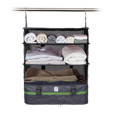 PORTABLE LUGGAGE SYSTEM - PACKABLE HANGING TRAVEL SHELVES & CUBE ORGANIZER