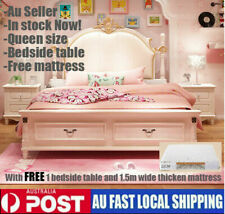 Rome Style Queen Size Bed with one Bedside Table Kids Princess Dream Bedroom New