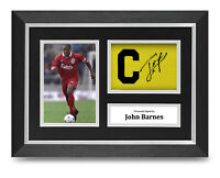 John Barnes Signed A4 Framed Captain Armband Photo Display Liverpool Autograph