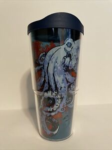 TERVIS Insulated Tumbler - Octopus Sea Water Ocean Beach - 24oz with Blue Lid