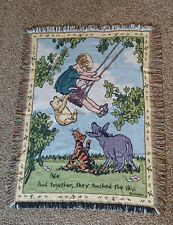 Vintage Classic Winnie the Pooh Disney Fringed Woven Tapestry Throw Blanket #05