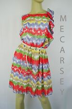 A.Buyer Multi-colored Bright Colorful Summer with Belt Shelth Woman Dress Size L
