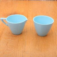 Allied Chemical Blue Melmac Melamine Cream and Sugar Vintage