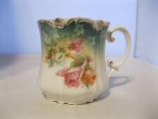 RS Prussia Shaving Mug Green Red Stamp Hand Painted Roses Pink Teal Antique