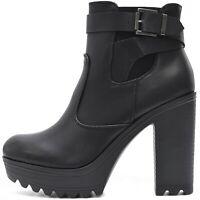 Plateau Damen Schuhe Schwarz Blockabsatz High Heels Ankle Boots Stiefeletten