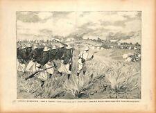 Expédition de Madagascar Combat de Tsarasaotra Capitaine Aubé 1895 ILLUSTRATION