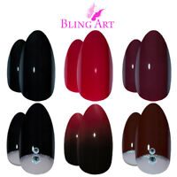 Bling Art Almond False Nails Black Red White Maroon Stiletto Polished Fake Tips
