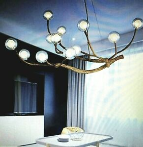 Modern Industrial Wood Branch Chandelier Glass Bubble LED Ceiling Fixture