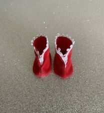 """Madame Alexander Doll Shoes🥿Red Velveteen w/White Trim Boots For 8"""" Doll ~ Flaw"""