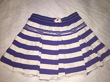 MINI BODEN Blue & White Striped Pleated Preppy Skort Skirt Built In Shorts 13 14