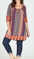 Plus Size Ladies Round Neck Open Shoulder Tunic-Orange & Blue Size 14 -FREE POST