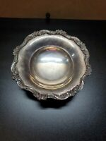 "6 1/2"" EPCA Old English by Poole Silver-plated Round Floral Rim Footed Bowl 5005"