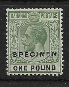 BAHAMAS SG125s 1926 £1 GREEN & BLACK SPECIMEN MTD MINT