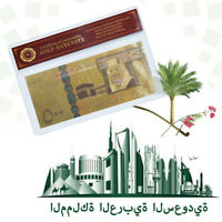 WR Saudi Arabia 500 Riyals Coloried Gold Foil Banknote Collectors Item +COA