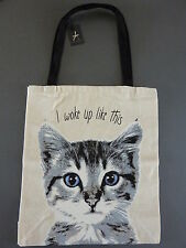NEU Primark Shopper Katze Tasche Einkaufstasche Jutebeutel Cat WOKE UP LIKE THIS