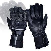 Mens Motorbike Motorcycle Waterproof Leather Gloves Armoured Winter Thermal