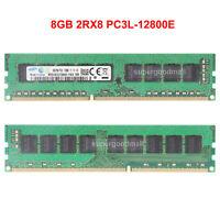 For Samsung 8GB 2Rx8 PC3L-12800E DDR3L-1600MHz ECC UDIMM Server Memory RAM