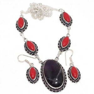 Banded Amethyst Red Coral Ethnic Handmade Necklace Earrings Set Jewelry JW