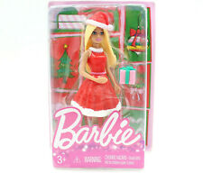 "Holiday Barbie Mini Figure (Red Santa Dress), 4"" Doll Stocking Stuffer"