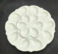 "Deviled Egg Tray White CM-30 Unbranded Holds 16 Eggs Vintage 10"" Flower Used Set"