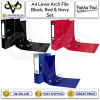 Set of 3 Pukka A4 Lever Arch File Black, Red & Navy Binder Folders School Office