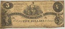 1861 Confederate $5 Note Fine + Richmond Virginia Currency Paper Money Civil War